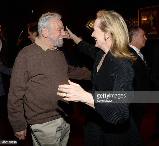 Stephen Sondheim and Meryl Streep attend the world premiere of 'Into the Woods' at the Ziegfeld Theatre on December 8 2014 in New York City The stars...
