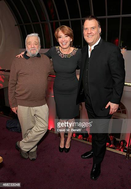 Stephen Sondheim Emma Thompson and Bryn Terfel during the press night performance of 'Sweeney Todd The Demon Barber of Fleet Street' at The London...