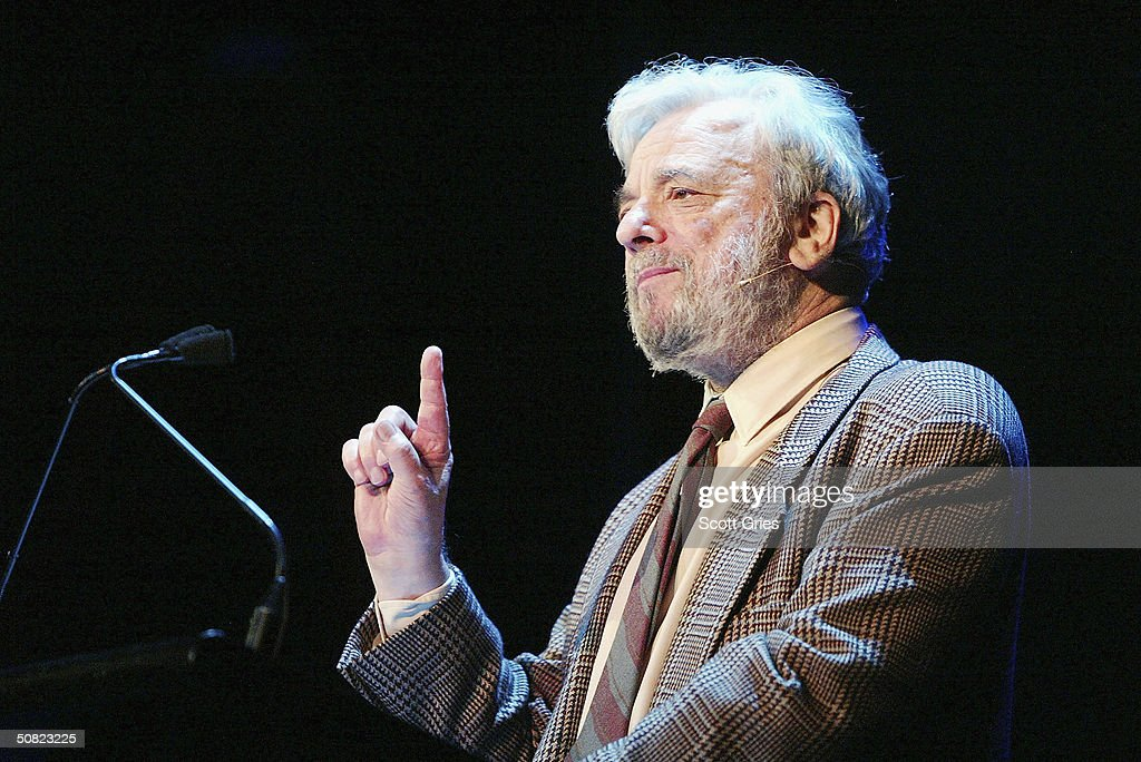 Stephen Sondheim speaks during the Dramatists Guild Fifth Annual Benefit Dinner at the Hudson Theater May 10, 2004 in New York City.