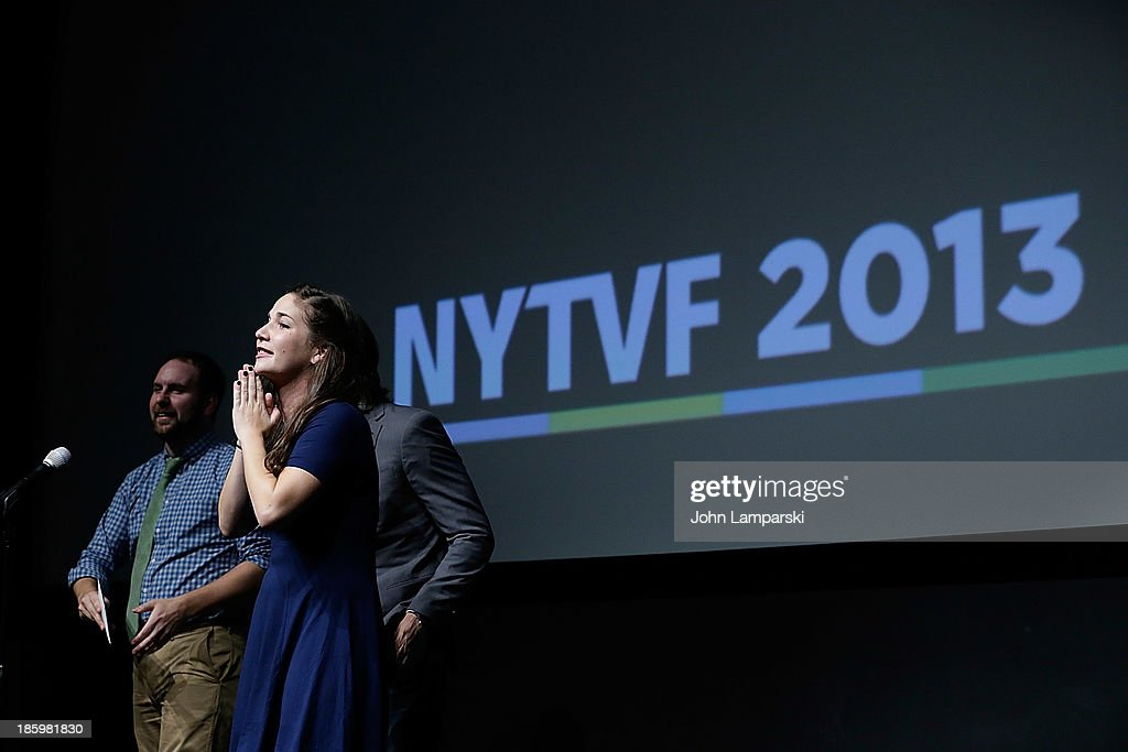 Stephen Soroka, Nic Rad and Maria Krovatin accept the Best of the Fest Award during the 9th Annual New York Television Festival - Awards Ceremony at SVA Theater on October 26, 2013 in New York City.