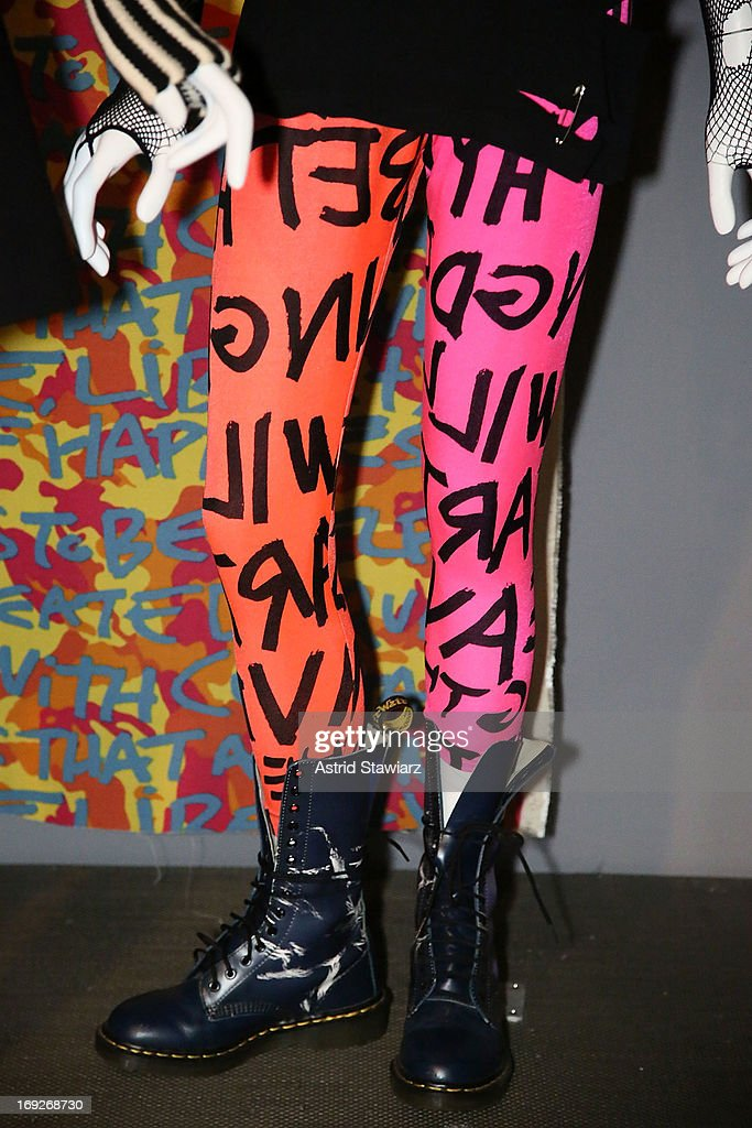 Stephen Sprouse men's leggings, circa 1985 are displayed at the RetroSpective Press Preview at The Museum at FIT on May 22, 2013 in New York City.