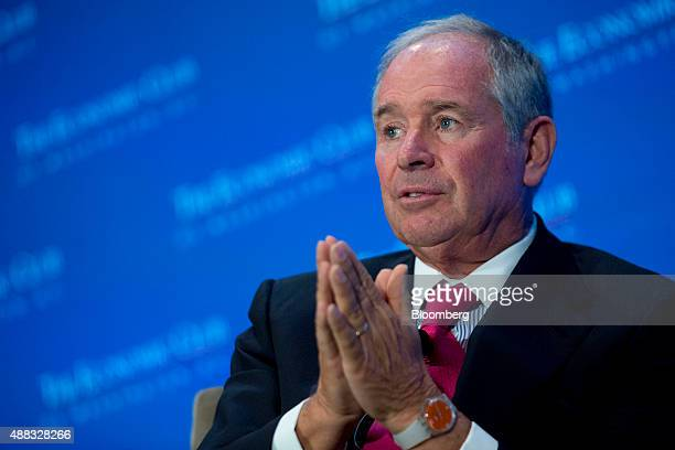 Stephen 'Steve' Schwarzman cofounder chairman and chief executive officer of Blackstone Group LP speaks at an Economic Club of Washington luncheon in...