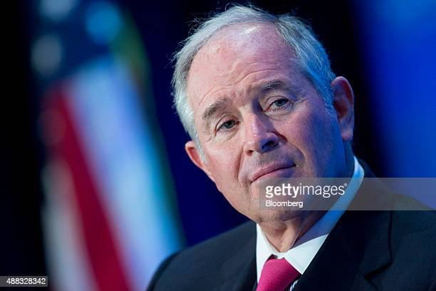 Stephen 'Steve' Schwarzman cofounder chairman and chief executive officer of Blackstone Group LP listens during an interview at an Economic Club of...