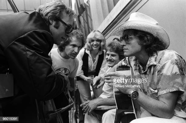 Stephen Stills and Ramblin' Jack Elliot backstage at The Greek Theatre in 1981 in Berkeley California