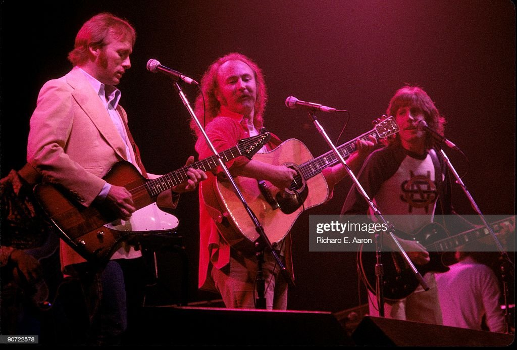 Stephen Stills David Crosby and Graham Nash perform as Crosby Stills and Nash live on stage at Madison Square Garden New York in October 1975