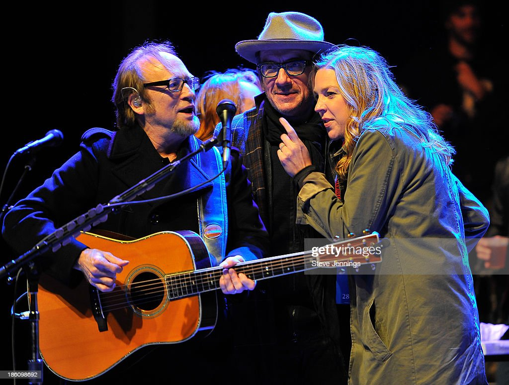 Stephen Stills, Elvis Costello and Diana Krall (L-R) perform on Day 2 of the 27th Annual Bridge School Benefit concert at Shoreline Amphitheatre on October 27, 2013 in Mountain View, California.