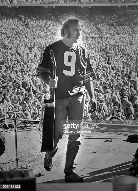Stephen Stills leaves the stage at a Crosby Stills Nash and Young concert at Oakland Colisseum California on July 14 1974 during their 1974 US Tour