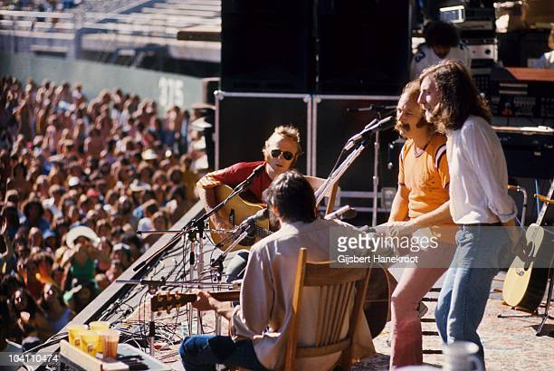 Stephen Stills Neil Young David Crosby and Graham Nash of Crosby Stills Nash And Young perform on stage at Oakland Colisseum on 13th July 1974 in...