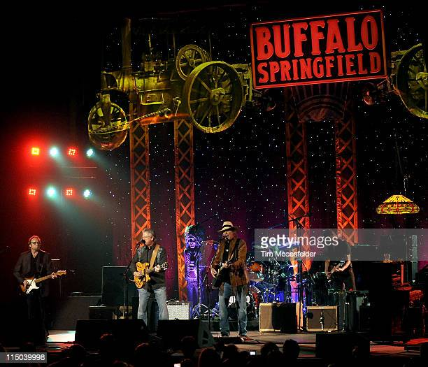 Stephen Stills Richie Furay and Neil Young of Buffalo Spingfield perform the opening night of the bands' Reunion Tour at The Fox Theater on June 1...