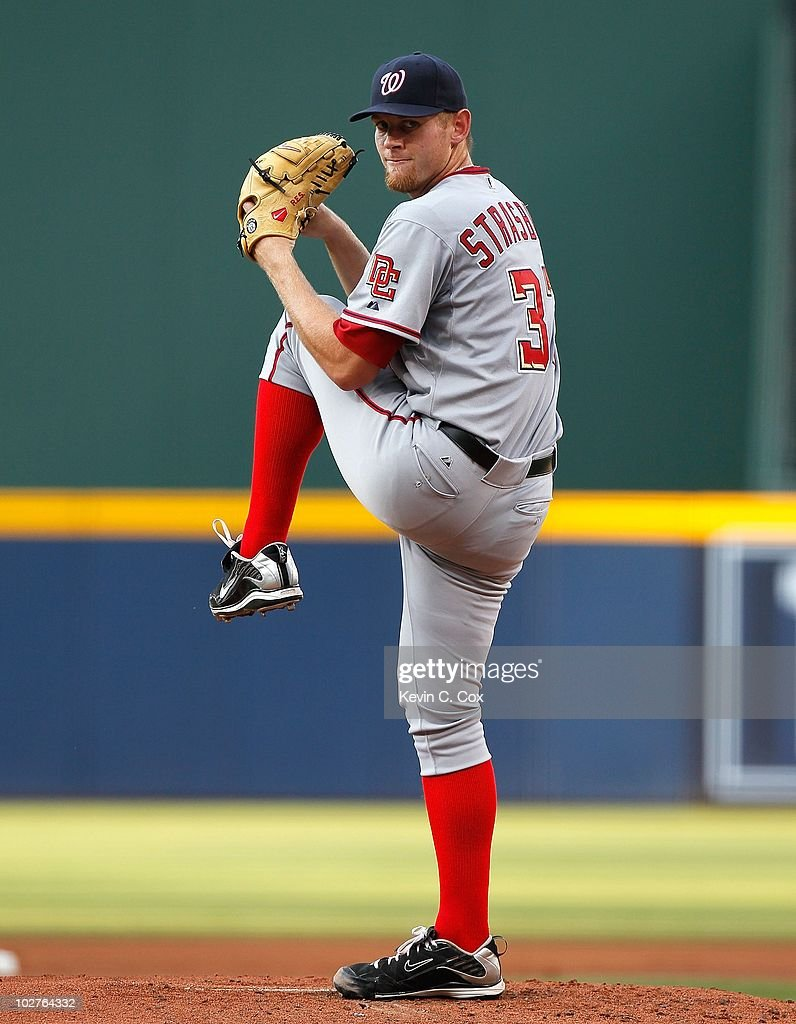 <a gi-track='captionPersonalityLinkClicked' href=/galleries/search?phrase=Stephen+Strasburg&family=editorial&specificpeople=6164496 ng-click='$event.stopPropagation()'>Stephen Strasburg</a> #37 of the Washington Nationals against the Atlanta Braves at Turner Field on June 28, 2010 in Atlanta, Georgia.