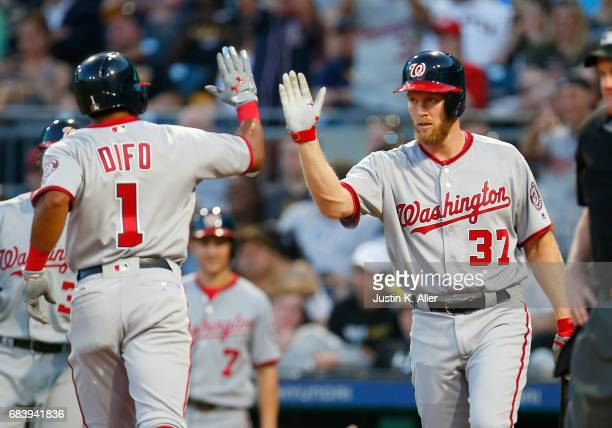 Stephen Strasburg of the Washington Nationals and Wilmer Difo celebrates after a two run home run in the fourth inning against the Pittsburgh Pirates...