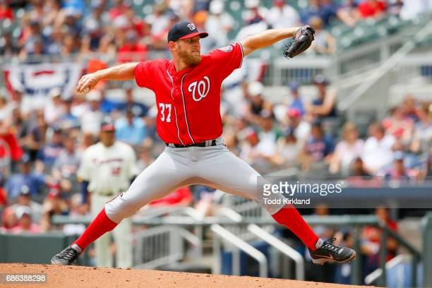 Stephen Strasburg of the Washington Nationals delivers the pitch in the first inning of an MLB game against the Atlanta Braves at SunTrust Park on...