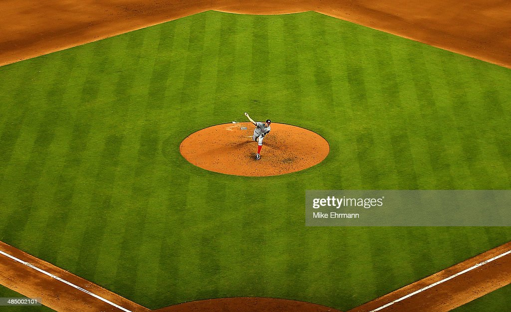 <a gi-track='captionPersonalityLinkClicked' href=/galleries/search?phrase=Stephen+Strasburg&family=editorial&specificpeople=6164496 ng-click='$event.stopPropagation()'>Stephen Strasburg</a> of the Washington Nationals during a game at Marlins Park on April 15, 2014 in Miami, Florida. All uniformed team members are wearing jersey number 42 in honor of Jackie Robinson Day