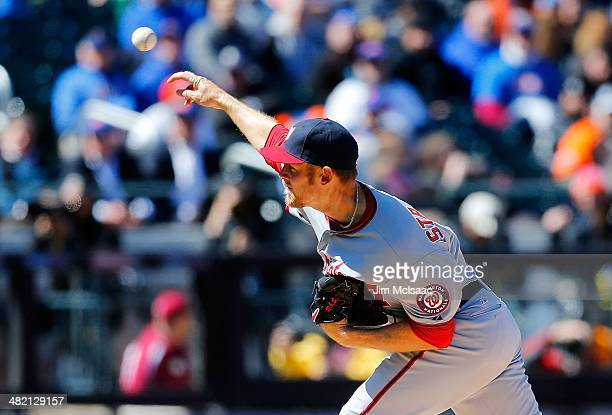 Stephen Strasburg of the Washington Nationals in action against the New York Mets during their Opening Day game at Citi Field on March 31 2014 in the...