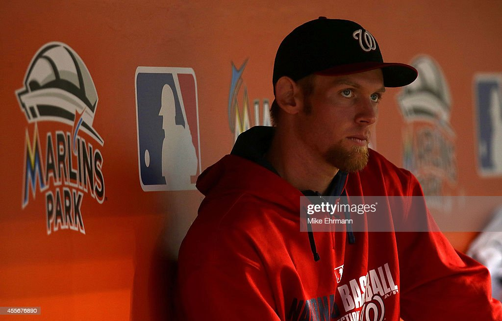 Stephen Strasburg #37 of the Washington Nationals looks on during a game against the Miami Marlins at Marlins Park on September 18, 2014 in Miami, Florida.