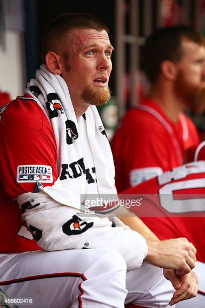 Stephen Strasburg of the Washington Nationals looks on from the dugout in the bottom of the first inning against the San Francisco Giants during Game...