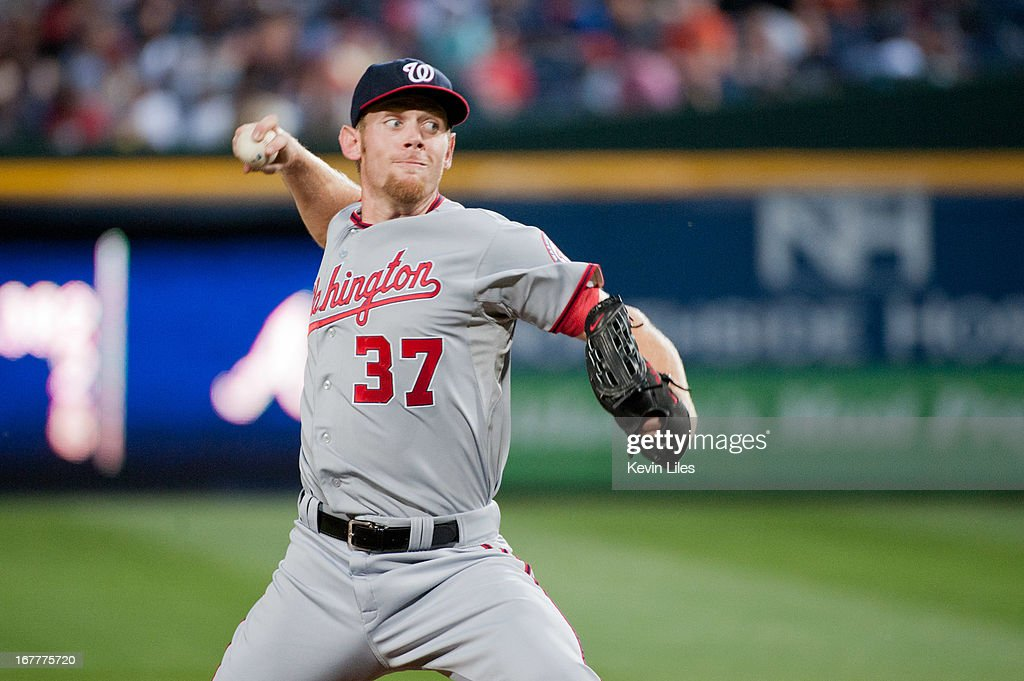 <a gi-track='captionPersonalityLinkClicked' href=/galleries/search?phrase=Stephen+Strasburg&family=editorial&specificpeople=6164496 ng-click='$event.stopPropagation()'>Stephen Strasburg</a> #37 of the Washington Nationals pitches against the Atlanta Braves during the 5th inning at Turner Field on April 29, 2013 in Atlanta, Georgia. The Braves defeated the Nationals 3-2.