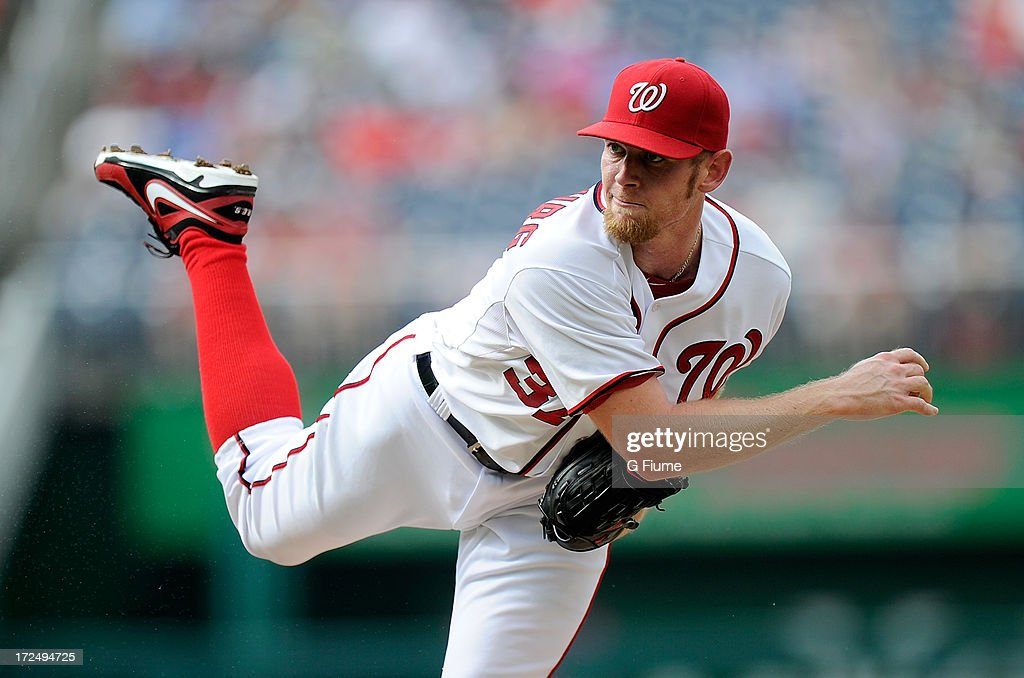 <a gi-track='captionPersonalityLinkClicked' href=/galleries/search?phrase=Stephen+Strasburg&family=editorial&specificpeople=6164496 ng-click='$event.stopPropagation()'>Stephen Strasburg</a> #37 of the Washington Nationals pitches against the Arizona Diamondbacks at Nationals Park on June 27, 2013 in Washington, DC.
