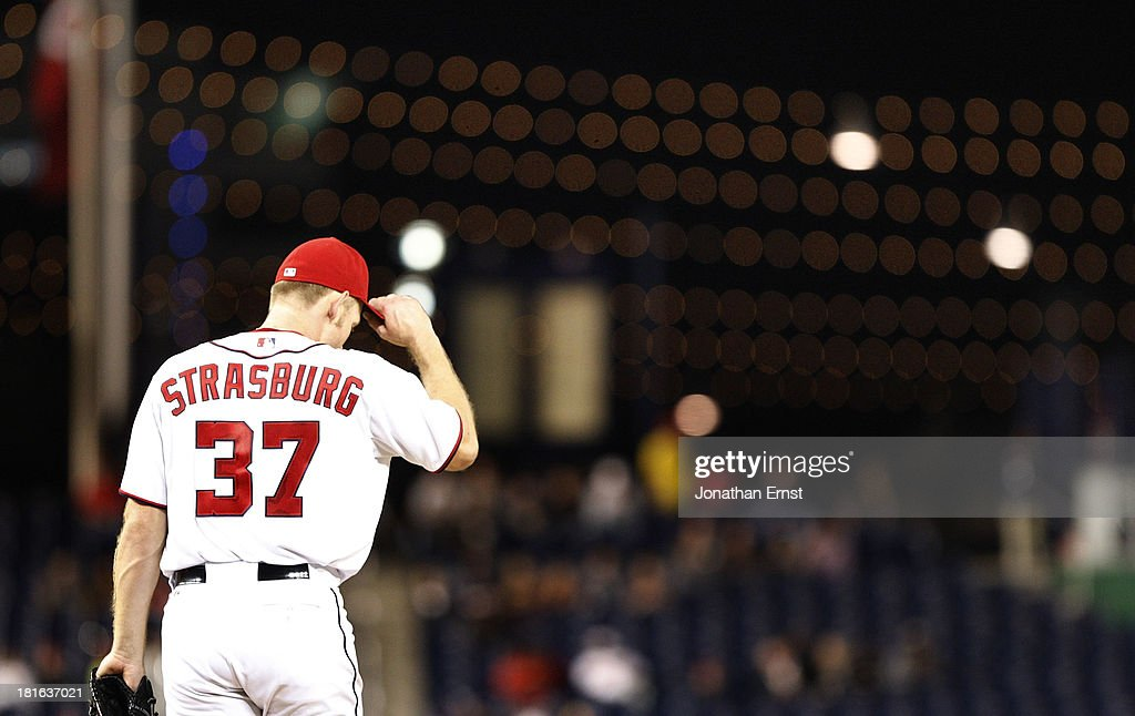 <a gi-track='captionPersonalityLinkClicked' href=/galleries/search?phrase=Stephen+Strasburg&family=editorial&specificpeople=6164496 ng-click='$event.stopPropagation()'>Stephen Strasburg</a> #37 of the Washington Nationals pitches against the Miami Marlins in the sixth inning of game 2 of their day-night doubleheader at Nationals Park on September 22, 2013 in Washington, DC.