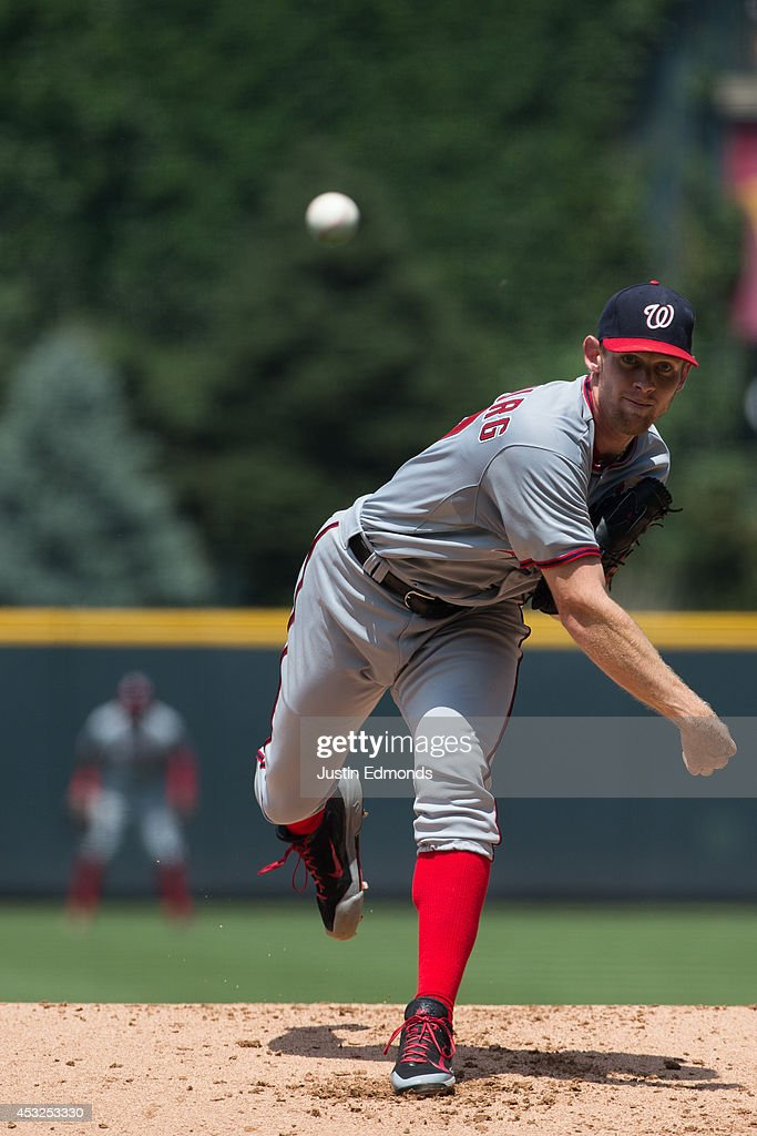 <a gi-track='captionPersonalityLinkClicked' href=/galleries/search?phrase=Stephen+Strasburg&family=editorial&specificpeople=6164496 ng-click='$event.stopPropagation()'>Stephen Strasburg</a> #37 of the Washington Nationals pitches against the Colorado Rockies at Coors Field on July 23, 2014 in Denver, Colorado.