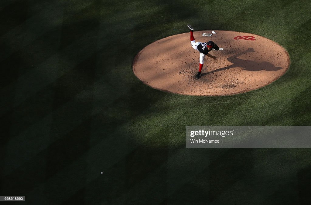Stephen Strasburg #37 of the Washington Nationals pitches against the Philadelphia Phillies on April 14, 2017 at Nationals Park in Washington, DC.