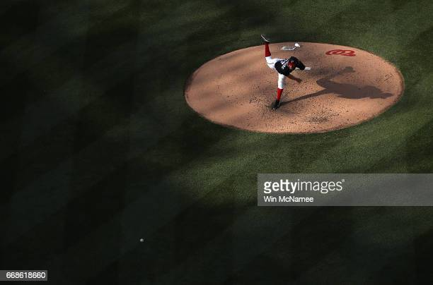 Stephen Strasburg of the Washington Nationals pitches against the Philadelphia Phillies on April 14 2017 at Nationals Park in Washington DC