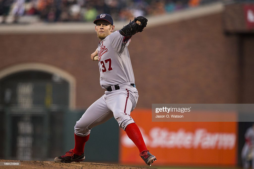 <a gi-track='captionPersonalityLinkClicked' href=/galleries/search?phrase=Stephen+Strasburg&family=editorial&specificpeople=6164496 ng-click='$event.stopPropagation()'>Stephen Strasburg</a> #37 of the Washington Nationals pitches against the San Francisco Giants during the third inning at AT&T Park on May 21, 2013 in San Francisco, California. The San Francisco Giants defeated the Washington Nationals 4-2 in 10 innings.