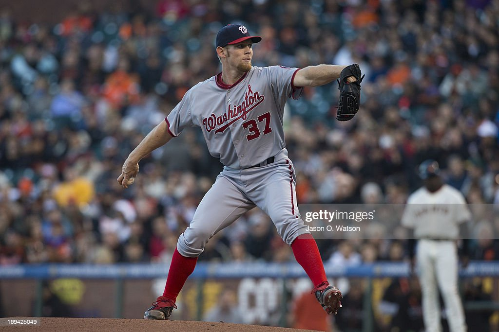 <a gi-track='captionPersonalityLinkClicked' href=/galleries/search?phrase=Stephen+Strasburg&family=editorial&specificpeople=6164496 ng-click='$event.stopPropagation()'>Stephen Strasburg</a> #37 of the Washington Nationals pitches against the San Francisco Giants during the first inning at AT&T Park on May 21, 2013 in San Francisco, California. The San Francisco Giants defeated the Washington Nationals 4-2 in 10 innings.