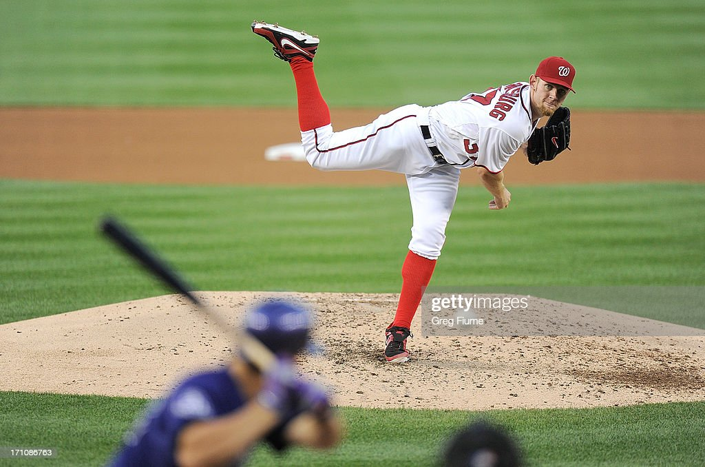 <a gi-track='captionPersonalityLinkClicked' href=/galleries/search?phrase=Stephen+Strasburg&family=editorial&specificpeople=6164496 ng-click='$event.stopPropagation()'>Stephen Strasburg</a> #37 of the Washington Nationals pitches in the fifth inning against the Colorado Rockies at Nationals Park on June 21, 2013 in Washington, DC.