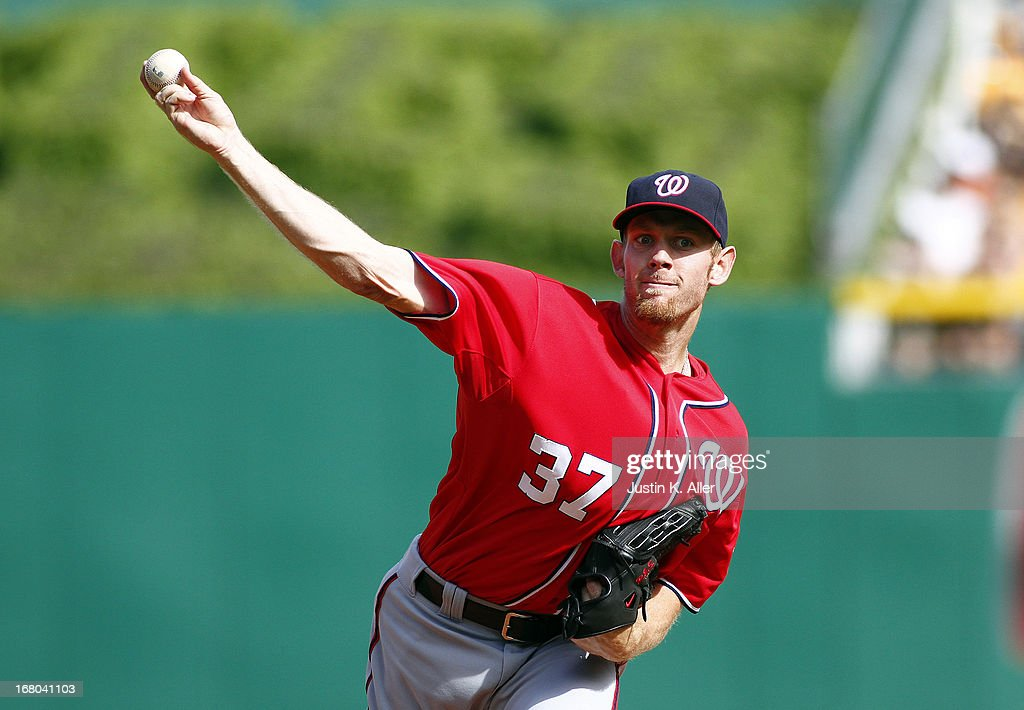 <a gi-track='captionPersonalityLinkClicked' href=/galleries/search?phrase=Stephen+Strasburg&family=editorial&specificpeople=6164496 ng-click='$event.stopPropagation()'>Stephen Strasburg</a> #37 of the Washington Nationals pitches in the first inning against the Pittsburgh Pirates during the game on May 4, 2013 at PNC Park in Pittsburgh, Pennsylvania.
