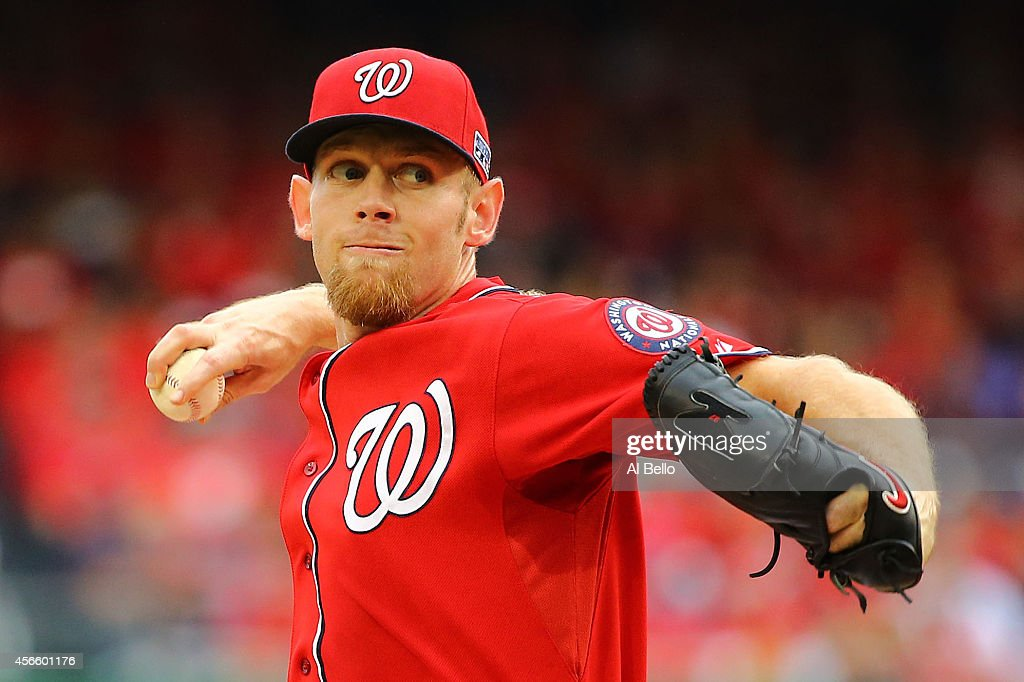 <a gi-track='captionPersonalityLinkClicked' href=/galleries/search?phrase=Stephen+Strasburg&family=editorial&specificpeople=6164496 ng-click='$event.stopPropagation()'>Stephen Strasburg</a> #37 of the Washington Nationals pitches in the first inning against the San Francisco Giants during Game One of the National League Division Series at Nationals Park on October 3, 2014 in Washington, DC.