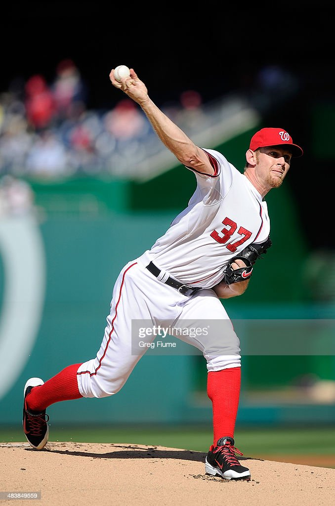 <a gi-track='captionPersonalityLinkClicked' href=/galleries/search?phrase=Stephen+Strasburg&family=editorial&specificpeople=6164496 ng-click='$event.stopPropagation()'>Stephen Strasburg</a> #37 of the Washington Nationals pitches in the first inning against the Miami Marlins at Nationals Park on April 10, 2014 in Washington, DC.