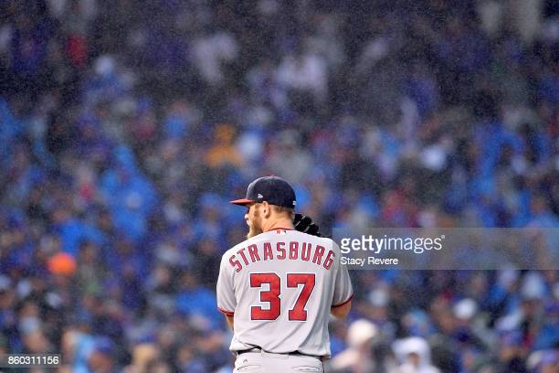 Stephen Strasburg of the Washington Nationals pitches in the seventh inning during game four of the National League Division Series against the...