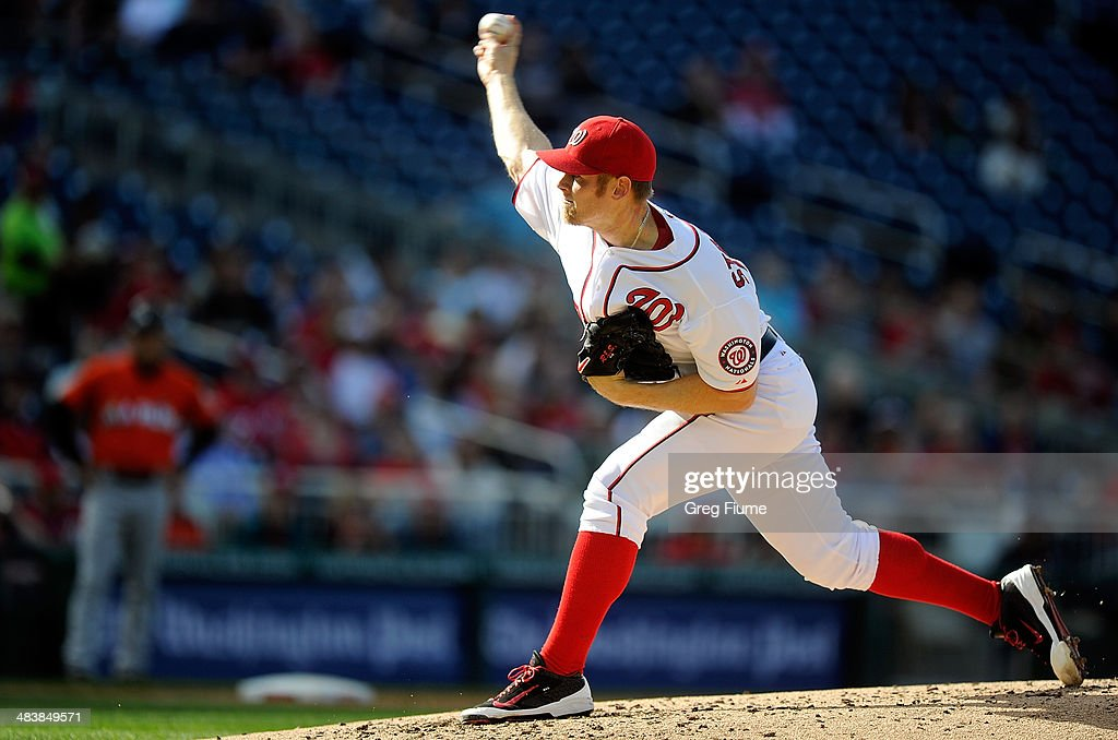 <a gi-track='captionPersonalityLinkClicked' href=/galleries/search?phrase=Stephen+Strasburg&family=editorial&specificpeople=6164496 ng-click='$event.stopPropagation()'>Stephen Strasburg</a> #37 of the Washington Nationals pitches in the third inning against the Miami Marlins at Nationals Park on April 10, 2014 in Washington, DC.
