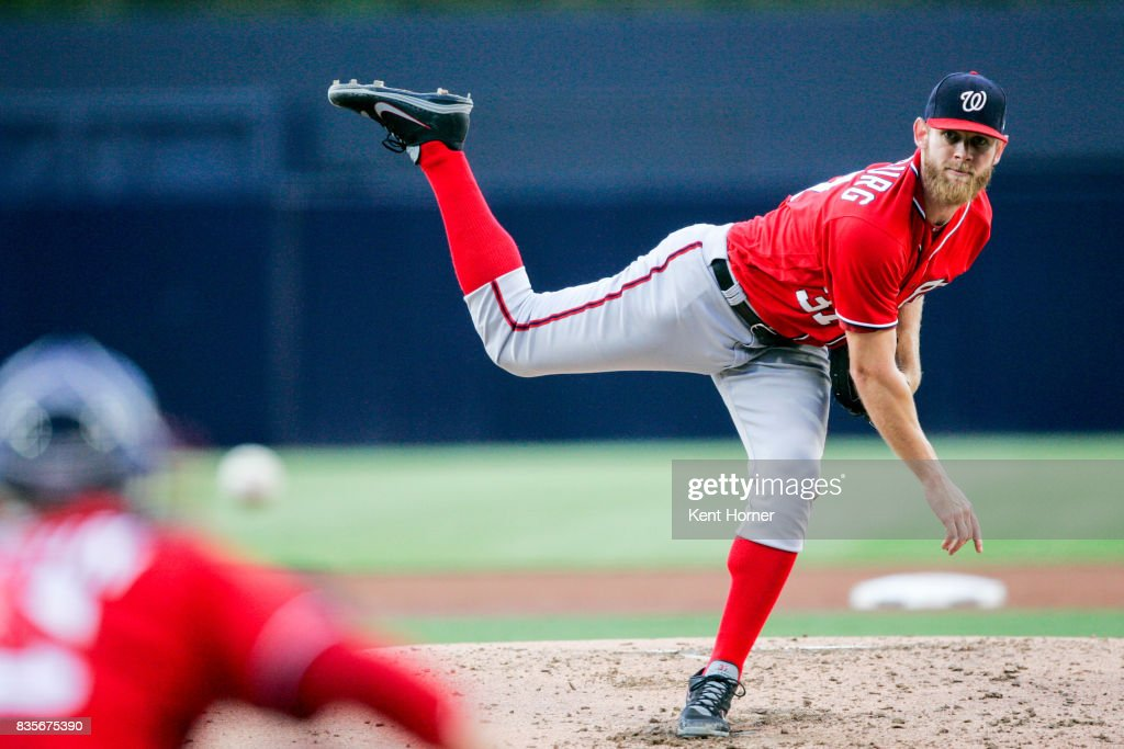 Stephen Strasburg #37 of the Washington Nationals pitches the ball during the 2nd inning against the San Diego Padres at PETCO Park on August 19, 2017 in San Diego, California.