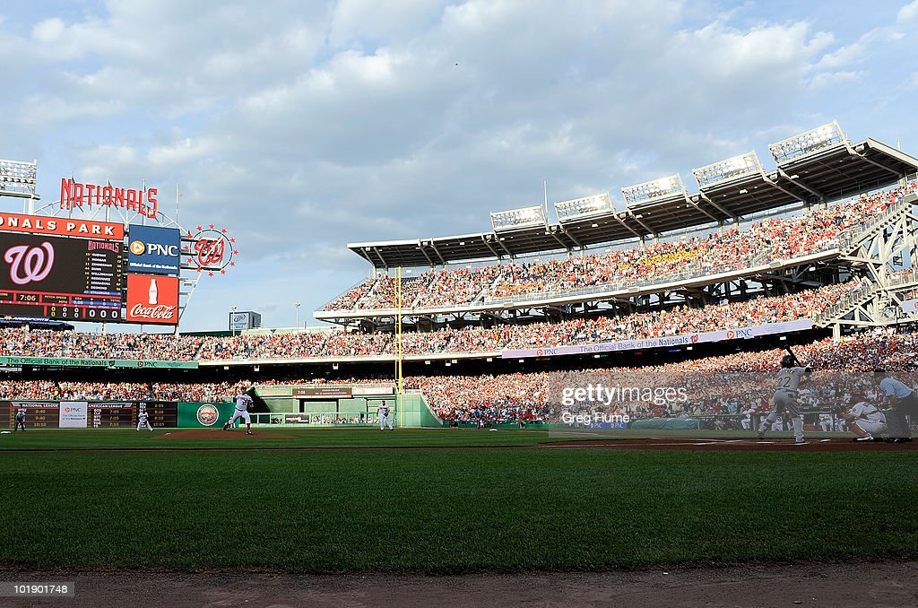 <a gi-track='captionPersonalityLinkClicked' href=/galleries/search?phrase=Stephen+Strasburg&family=editorial&specificpeople=6164496 ng-click='$event.stopPropagation()'>Stephen Strasburg</a> #37 of the Washington Nationals pitches the first pitch of the game to <a gi-track='captionPersonalityLinkClicked' href=/galleries/search?phrase=Andrew+McCutchen&family=editorial&specificpeople=2364814 ng-click='$event.stopPropagation()'>Andrew McCutchen</a> #22 of the Pittsburgh Pirates at Nationals Park on June 8, 2010 in Washington, DC.