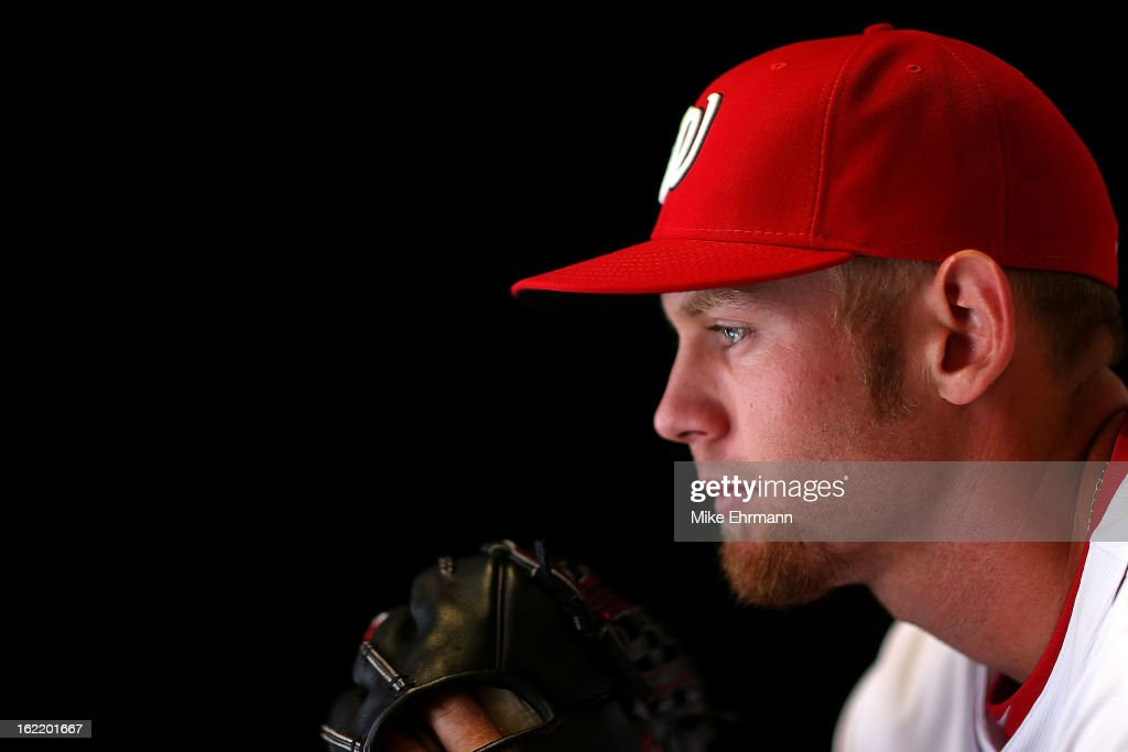 <a gi-track='captionPersonalityLinkClicked' href=/galleries/search?phrase=Stephen+Strasburg&family=editorial&specificpeople=6164496 ng-click='$event.stopPropagation()'>Stephen Strasburg</a> #37 of the Washington Nationals poses for a portrait during photo day at Space Coast Stadium on February 20, 2013 in Viera, Florida.
