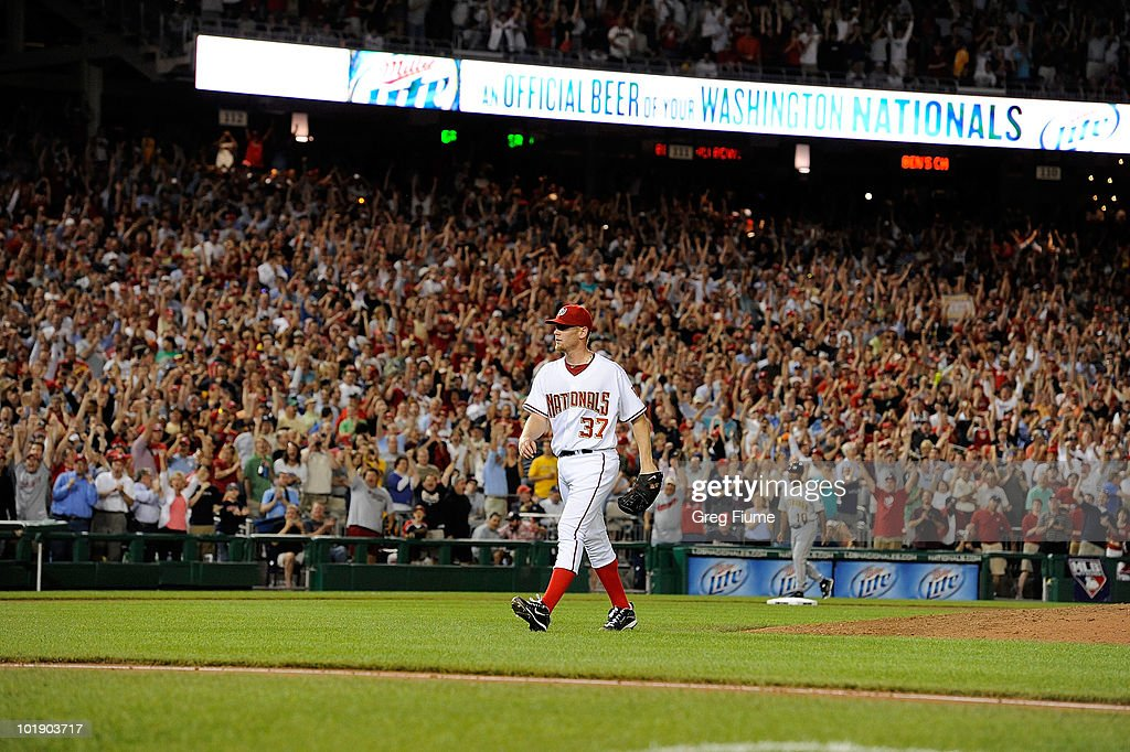 <a gi-track='captionPersonalityLinkClicked' href=/galleries/search?phrase=Stephen+Strasburg&family=editorial&specificpeople=6164496 ng-click='$event.stopPropagation()'>Stephen Strasburg</a> #37 of the Washington Nationals walks off the field after the seventh inning of the game against the Pittsburgh Pirates at Nationals Park on June 8, 2010 in Washington, DC. Strasburg struck out 14 batters in his major league debut.