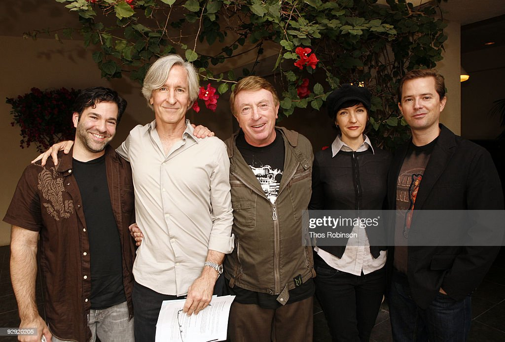 Stephen Susco, Mick Garris, <a gi-track='captionPersonalityLinkClicked' href=/galleries/search?phrase=Larry+Cohen&family=editorial&specificpeople=238848 ng-click='$event.stopPropagation()'>Larry Cohen</a>, Juliet Snowden, and Stiles White attend the 2009 American Film Market - Day 6, Writing for the Genre World at the Le Merigot Hotel on November 9, 2009 in Santa Monica, California.