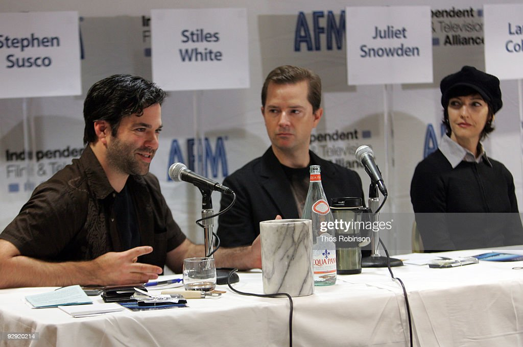Stephen Susco, Stiles White, and Juliet Snowden attend the 2009 American Film Market - Day 6, Writing for the Genre World at the Le Merigot Hotel on November 9, 2009 in Santa Monica, California.