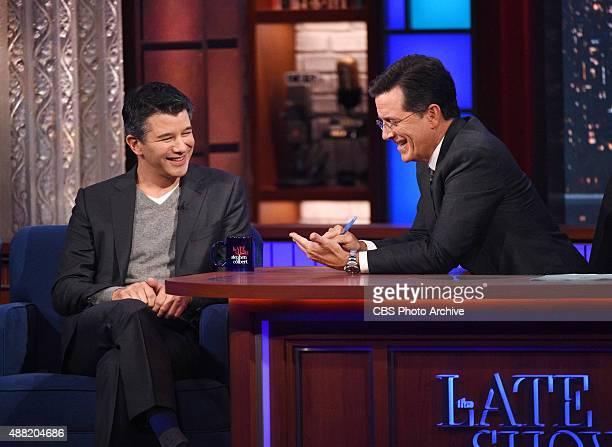 Stephen talks with Uber CEO Travis Kalanick on The Late Show with Stephen Colbert Thursday Sept 10 2015 on the CBS Television Network