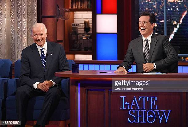 Stephen talks with Vice President Joe Biden on The Late Show with Stephen Colbert Thursday Sept 10 2015 on the CBS Television Network