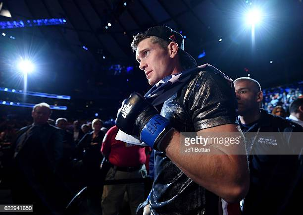 Stephen Thompson of the United States walks to the Octagon prior to his bout with Tyron Woodley of the United States in their welterweight...