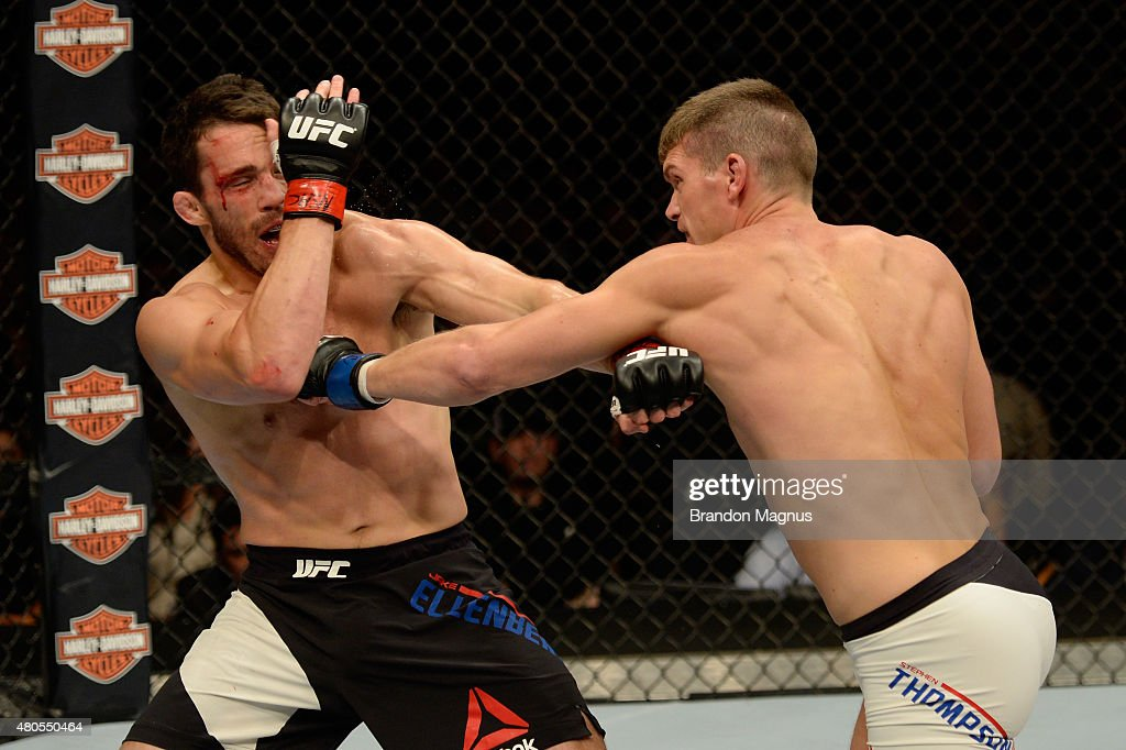 Stephen Thompson punches Jake Ellenberger in their welterweight bout during the Ultimate Fighter Finale inside MGM Grand Garden Arena on July 12, 2015 in Las Vegas, Nevada.