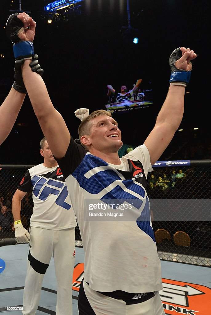 Stephen Thompson reacts to his victory over Jake Ellenberger in their welterweight bout during the Ultimate Fighter Finale inside MGM Grand Garden Arena on July 12, 2015 in Las Vegas, Nevada.