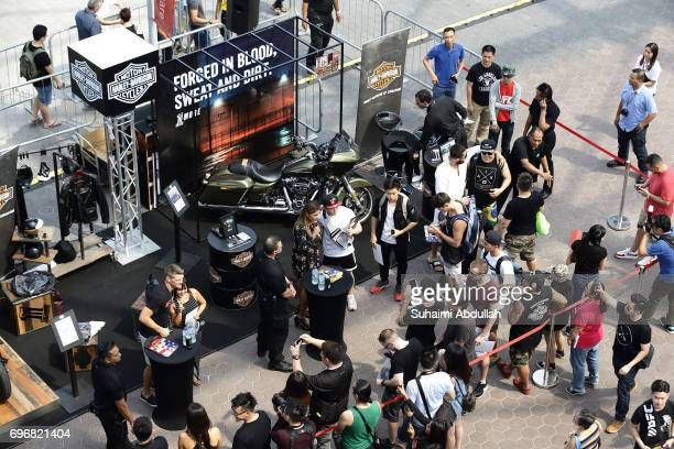 Stephen Thomson Julianna Penna and Jorge Masdival pose for a photo and sign autographs for fans at the Harley Davidson booth during the UFC Fan...