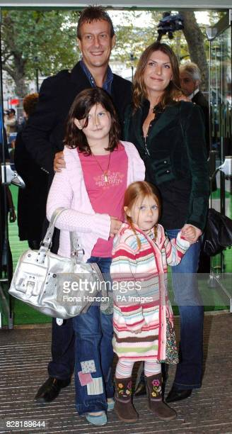 Stephen Tompkinson and partner Nicky arrive with their daughter Daisy and niece Poppy for the UK premiere of 'Wallace Gromit The Curse of the...