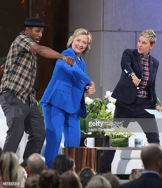 Stephen 'tWitch' Boss Hillary Clinton and Ellen DeGeneres attend 'The Ellen DeGeneres Show' Season 13 bicoastal premiere at Rockefeller Center on...