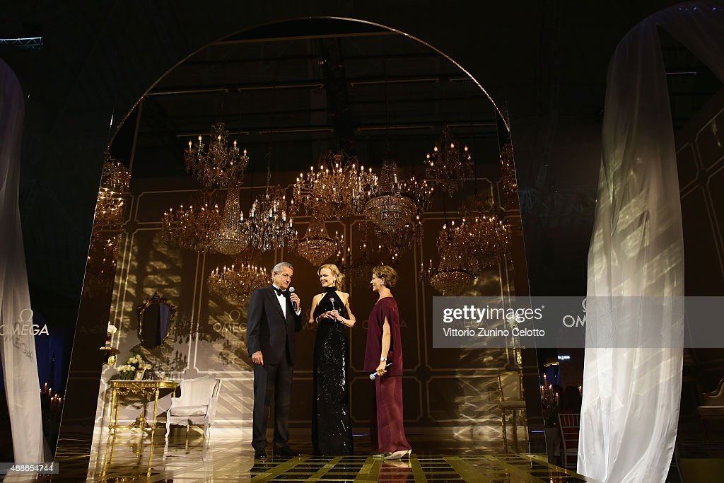 Stephen Urquhart Nicole Kidman and Cristina Gabetti attend OMEGA 'Her Time' Gala Dinner at Palazzo Del Ghiaccio on September 16 2015 in Milan Italy