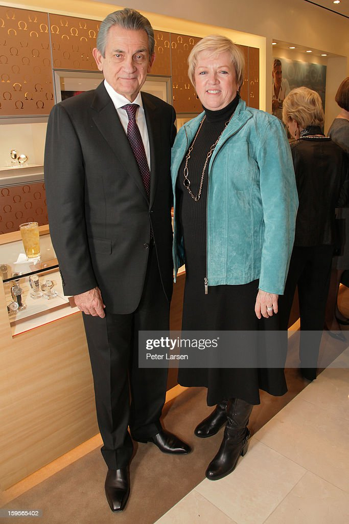Stephen Urquhart President of Omega and Jan Pruitt President of the North Texas Food Bank attend the Grand Opening of the Omega Boutique at NorthPark on January 15, 2013 in Dallas, Texas.